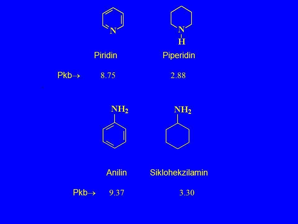 Piridin Piperidin Pkb  8.75 2.88. Anilin Siklohekzilamin Pkb  9.37 3.30