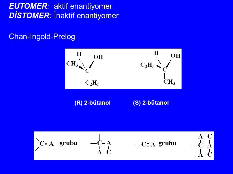 Chan-Ingold-Prelog (R) 2-bütanol (S) 2-bütanol EUTOMER: aktif enantiyomer DİSTOMER: İnaktif enantiyomer