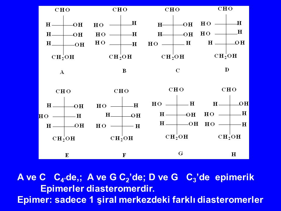 A ve C C 4' de,; A ve G C 2 'de; D ve G C 3 'de epimerik Epimerler diasteromerdir. Epimer: sadece 1 şiral merkezdeki farklı diasteromerler