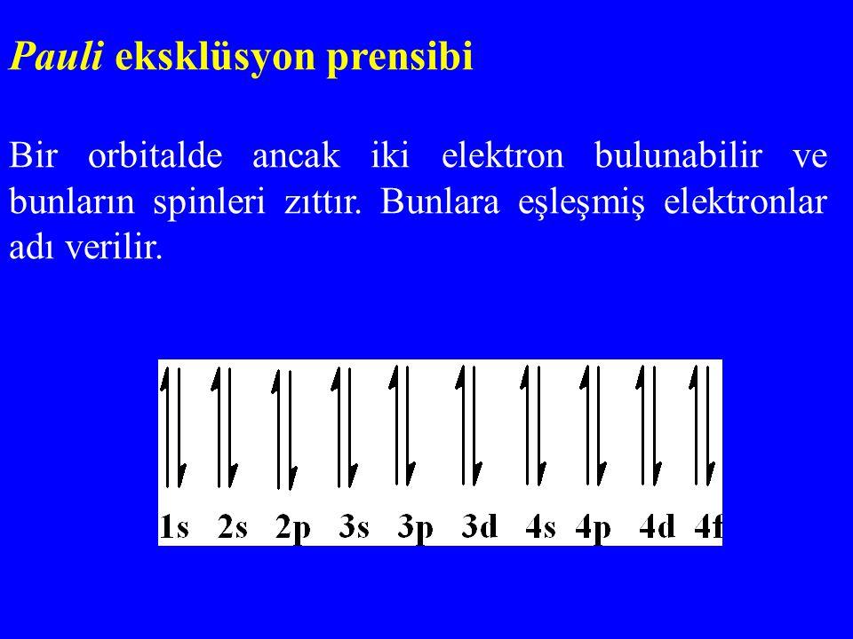 Pauli eksklüsyon prensibi Bir orbitalde ancak iki elektron bulunabilir ve bunların spinleri zıttır. Bunlara eşleşmiş elektronlar adı verilir.