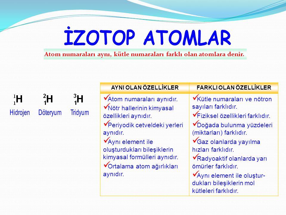 Atom numaraları aynı, kütle numaraları farklı olan atomlara denir.