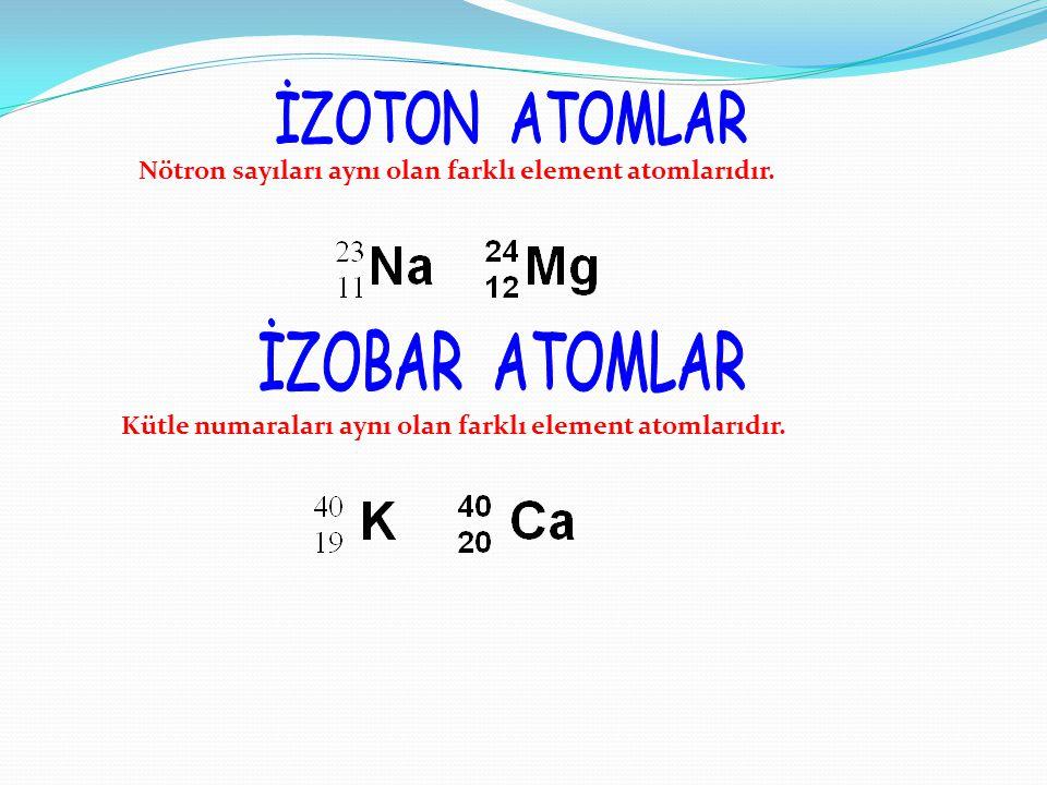 Nötron sayıları aynı olan farklı element atomlarıdır.