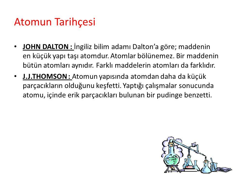 Atomun Tarihçesi JOHN DALTON : İngiliz bilim adamı Dalton'a göre; maddenin en küçük yapı taşı atomdur.