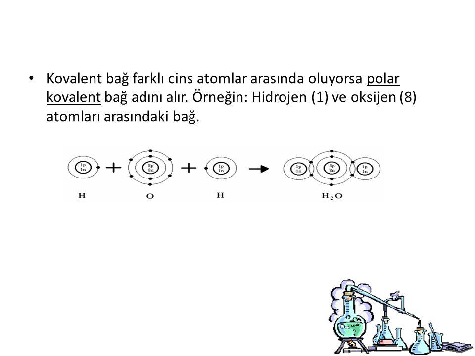 Kovalent bağ farklı cins atomlar arasında oluyorsa polar kovalent bağ adını alır.