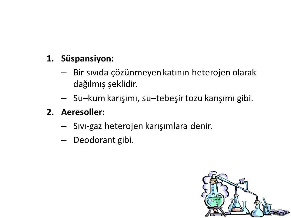 1.Süspansiyon: – Bir sıvıda çözünmeyen katının heterojen olarak dağılmış şeklidir.