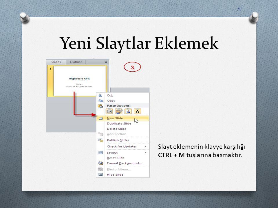 Slayt eklemenin klavye karşılığı CTRL + M tuşlarına basmaktır. 10