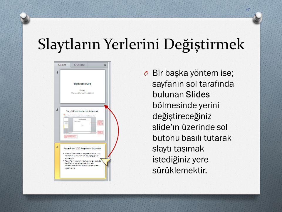 Slaytların Yerlerini Değiştirmek O Bir başka yöntem ise; sayfanın sol tarafında bulunan Slides bölmesinde yerini değiştireceğiniz slide'ın üzerinde so