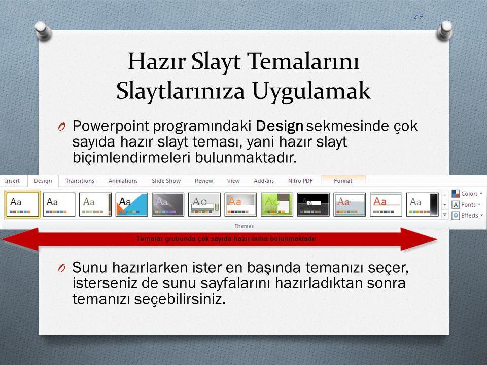 Hazır Slayt Temalarını Slaytlarınıza Uygulamak O Powerpoint programındaki Design sekmesinde çok sayıda hazır slayt teması, yani hazır slayt biçimlendi