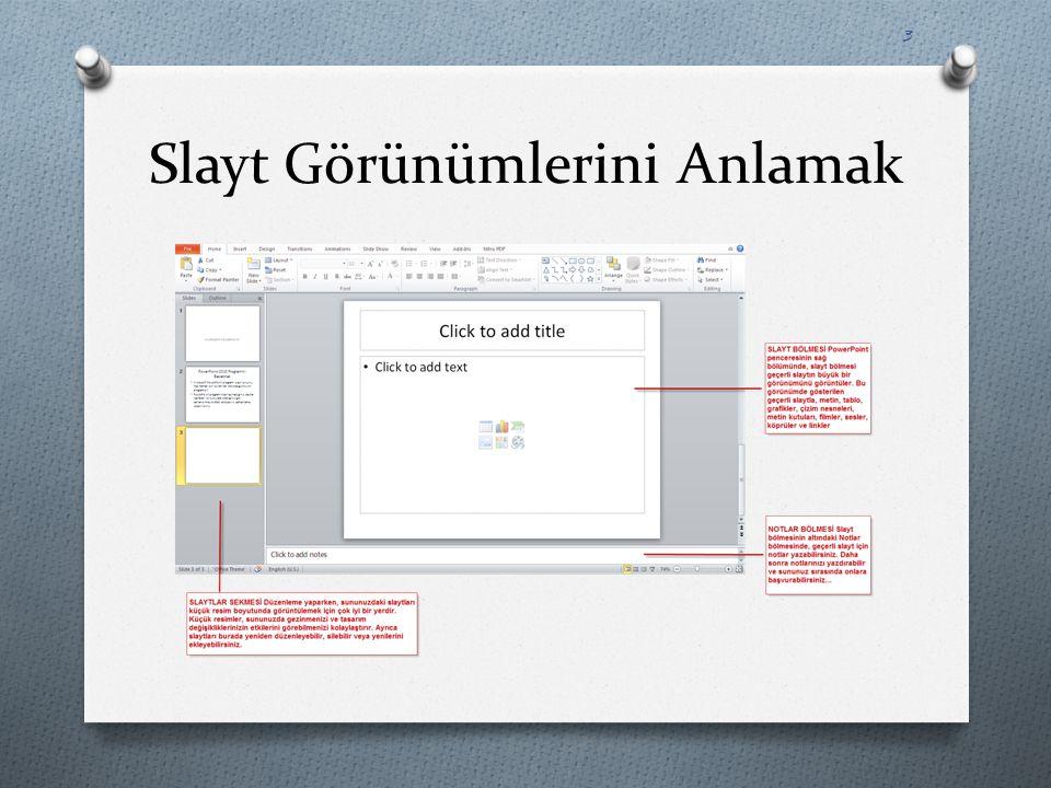Slaytlar Oluşturmak O Slayt oluşturmak için öncelikle slaytların içine yazılacak olan bilgilerin hazırlanmış olması gerekir.