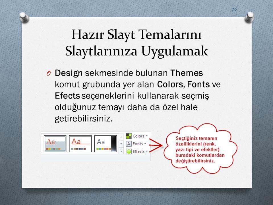 Hazır Slayt Temalarını Slaytlarınıza Uygulamak O Design sekmesinde bulunan Themes komut grubunda yer alan Colors, Fonts ve Efects seçeneklerini kullan