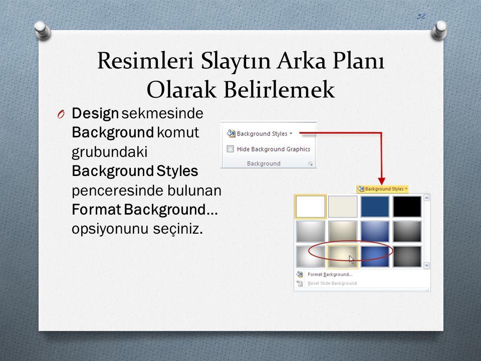 Resimleri Slaytın Arka Planı Olarak Belirlemek O Design sekmesinde Background komut grubundaki Background Styles penceresinde bulunan Format Backgroun