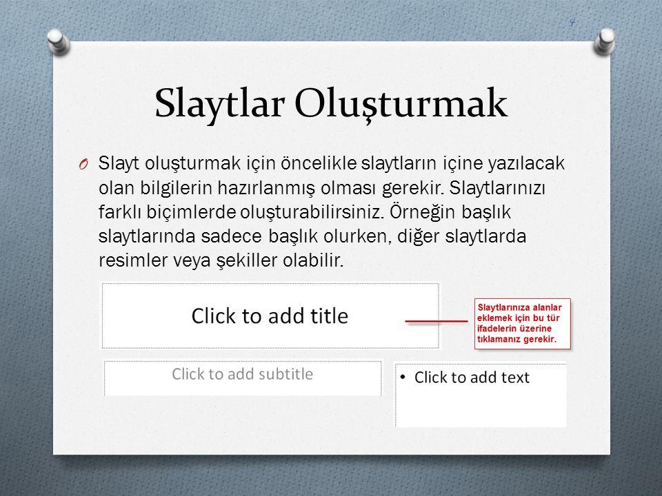 Slaytlar Oluşturmak O Örneğin başlık eklemek için 'click to add title' ifadesinin üzerine tıklayın ve Bilgisayara Giriş yazınız.