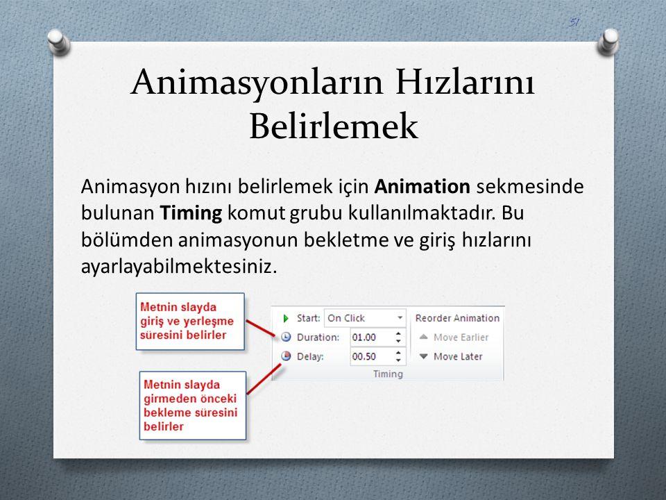 Animasyonların Hızlarını Belirlemek Animasyon hızını belirlemek için Animation sekmesinde bulunan Timing komut grubu kullanılmaktadır. Bu bölümden ani