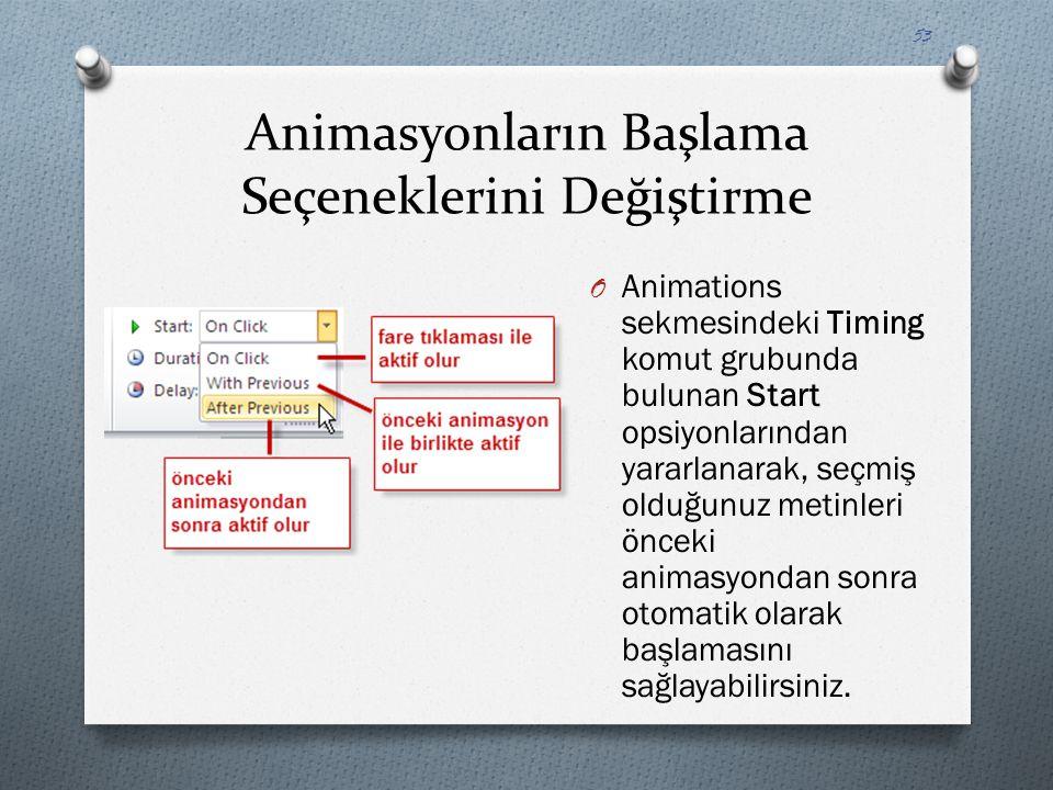 Animasyonların Başlama Seçeneklerini Değiştirme O Animations sekmesindeki Timing komut grubunda bulunan Start opsiyonlarından yararlanarak, seçmiş old
