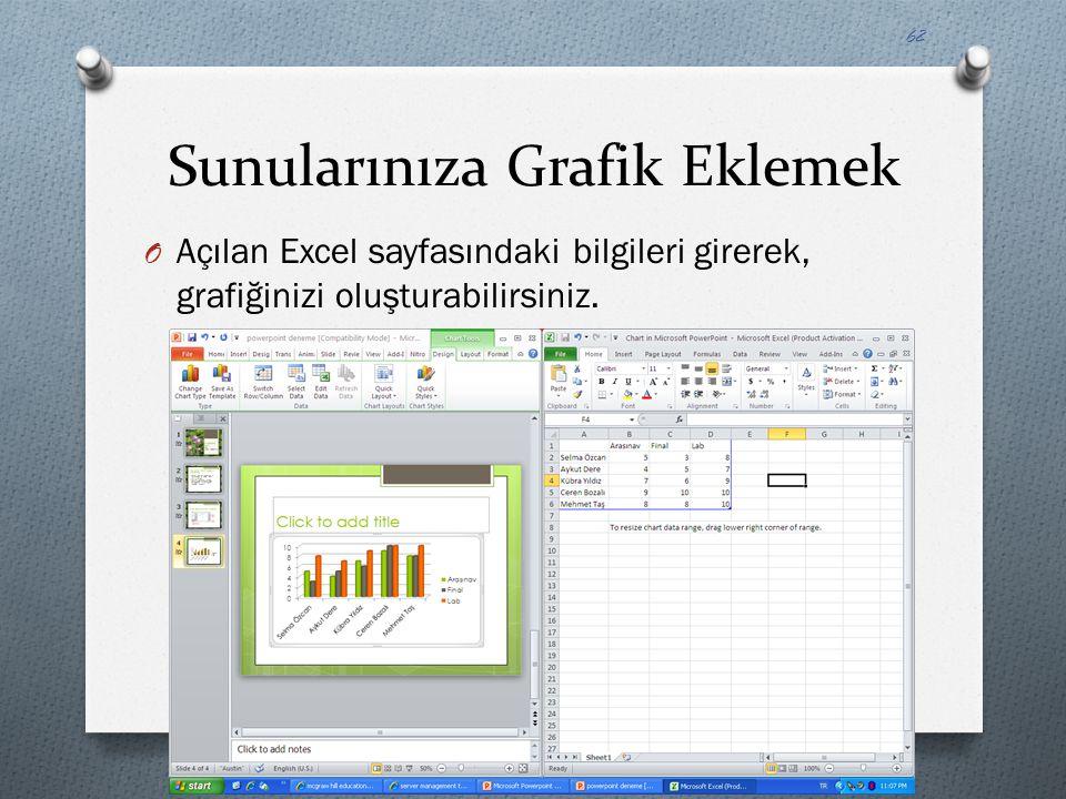 Sunularınıza Grafik Eklemek O Açılan Excel sayfasındaki bilgileri girerek, grafiğinizi oluşturabilirsiniz. 62