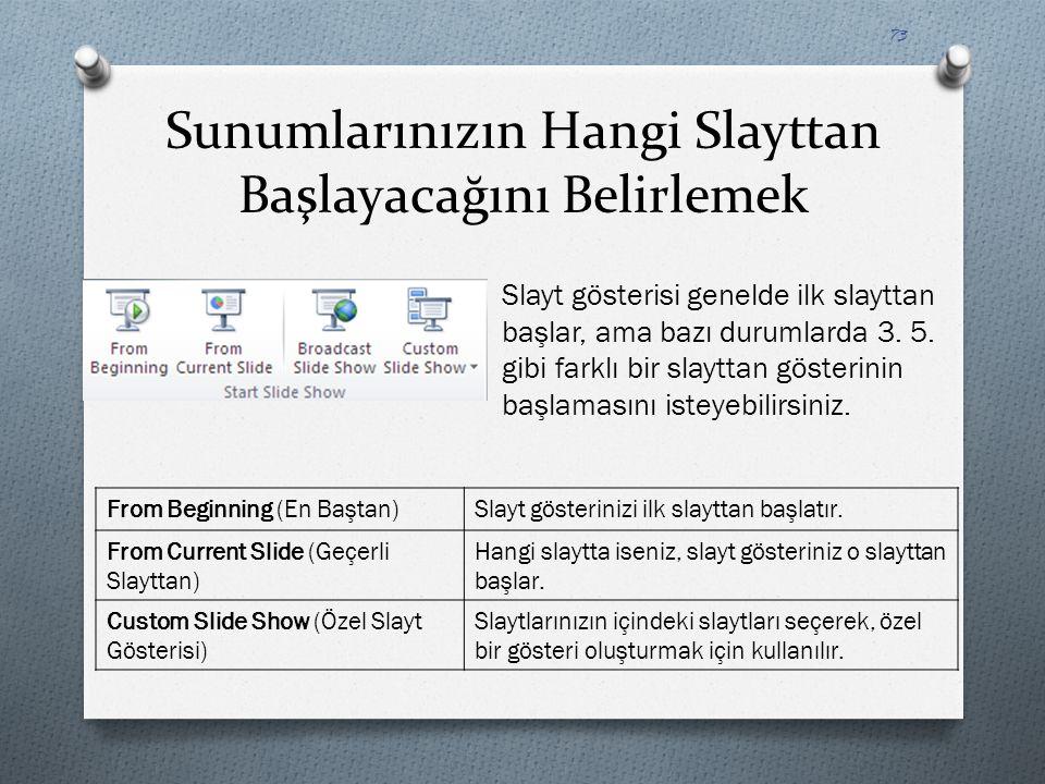 Sunumlarınızın Hangi Slayttan Başlayacağını Belirlemek Slayt gösterisi genelde ilk slayttan başlar, ama bazı durumlarda 3. 5. gibi farklı bir slayttan