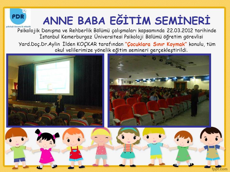 ANNE BABA EĞİTİM SEMİNERİ Psikolojik Danışma ve Rehberlik Bölümü çalışmaları kapsamında 22.03.2012 tarihinde İstanbul Kemerburgaz Üniversitesi Psikoloji Bölümü öğretim görevlisi Yard.Doç.Dr.Aylin İlden KOÇKAR tarafından Çocuklara Sınır Koymak konulu, tüm okul velilerimize yönelik eğitim semineri gerçekleştirildi.