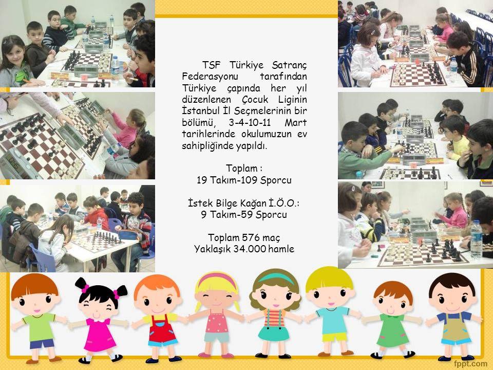 TSF Türkiye Satranç Federasyonu tarafından Türkiye çapında her yıl düzenlenen Çocuk Liginin İstanbul İl Seçmelerinin bir bölümü, 3-4-10-11 Mart tarihlerinde okulumuzun ev sahipliğinde yapıldı.