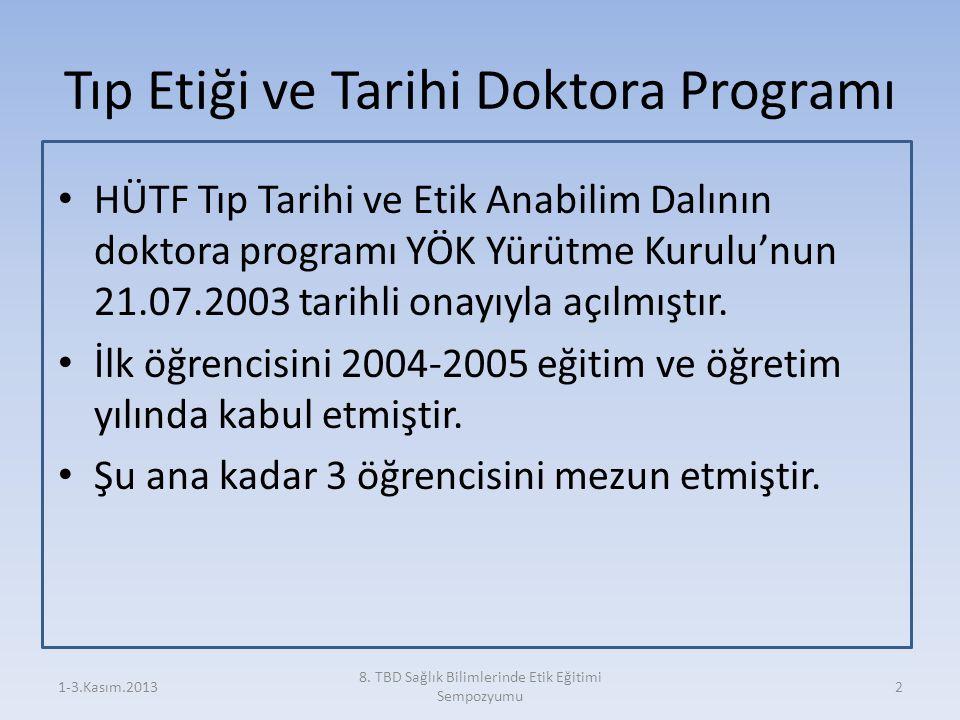Tıp Etiği ve Tarihi Doktora Programı HÜTF Tıp Tarihi ve Etik Anabilim Dalının doktora programı YÖK Yürütme Kurulu'nun 21.07.2003 tarihli onayıyla açıl