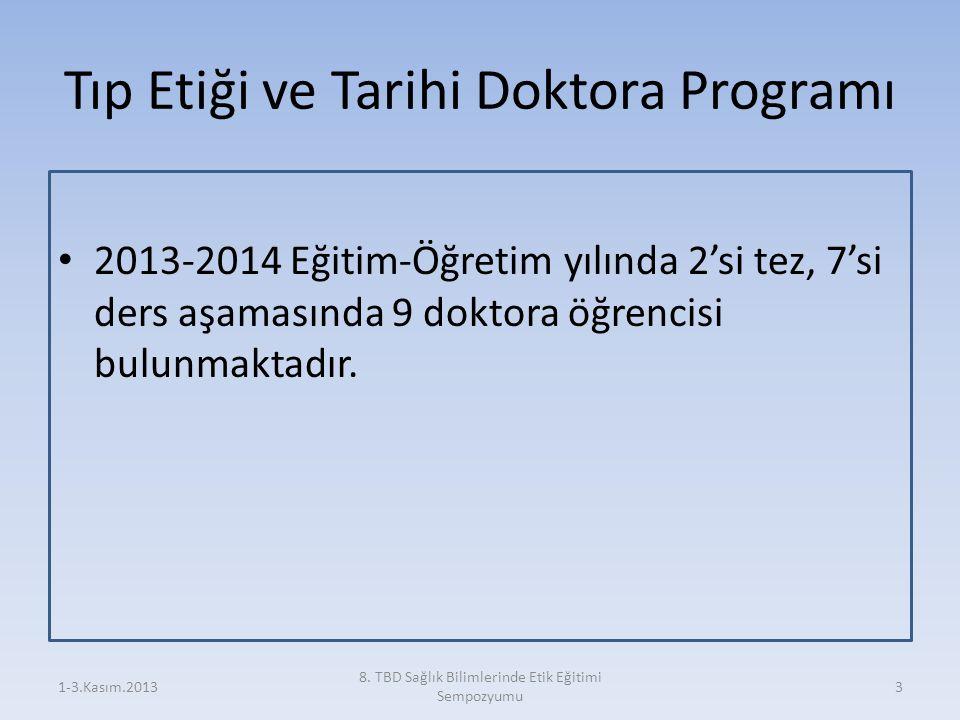 Tıp Etiği ve Tarihi Doktora Programı 2013-2014 Eğitim-Öğretim yılında 2'si tez, 7'si ders aşamasında 9 doktora öğrencisi bulunmaktadır. 1-3.Kasım.2013
