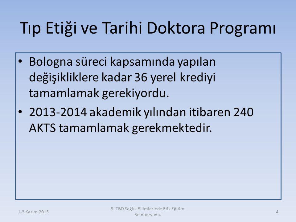 Tıp Etiği ve Tarihi Doktora Programı Bologna süreci kapsamında yapılan değişikliklere kadar 36 yerel krediyi tamamlamak gerekiyordu. 2013-2014 akademi