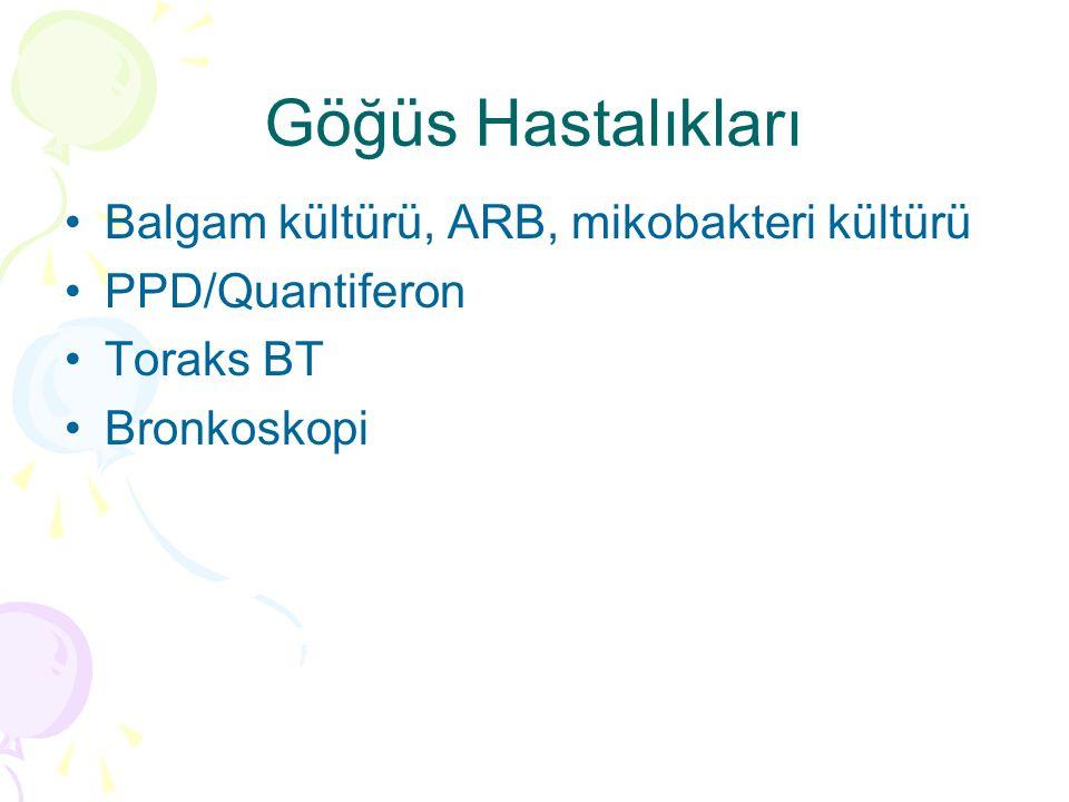 Göğüs Hastalıkları Balgam kültürü, ARB, mikobakteri kültürü PPD/Quantiferon Toraks BT Bronkoskopi