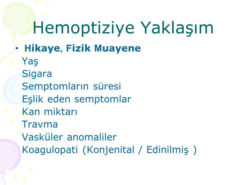 Hemoptiziye Y aklaşım H ikaye, F izik M uayene Yaş Sigara Semptomların süresi Eşlik eden semptomlar Kan miktarı Travma Vasküler anomaliler Koagulopati (Konjenital / Edinilmiş )