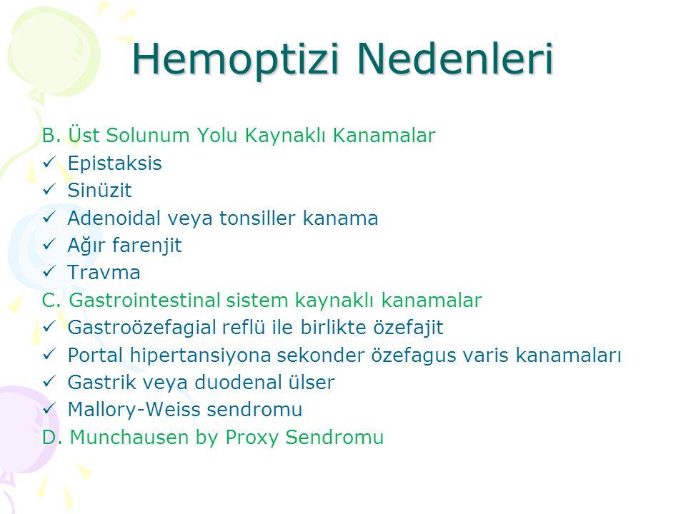 Hemoptizi Nedenleri B.