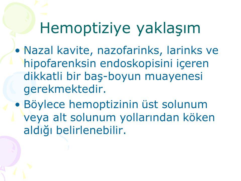 Hemoptiziye yaklaşım Nazal kavite, nazofarinks, larinks ve hipofarenksin endoskopisini içeren dikkatli bir baş-boyun muayenesi gerekmektedir.