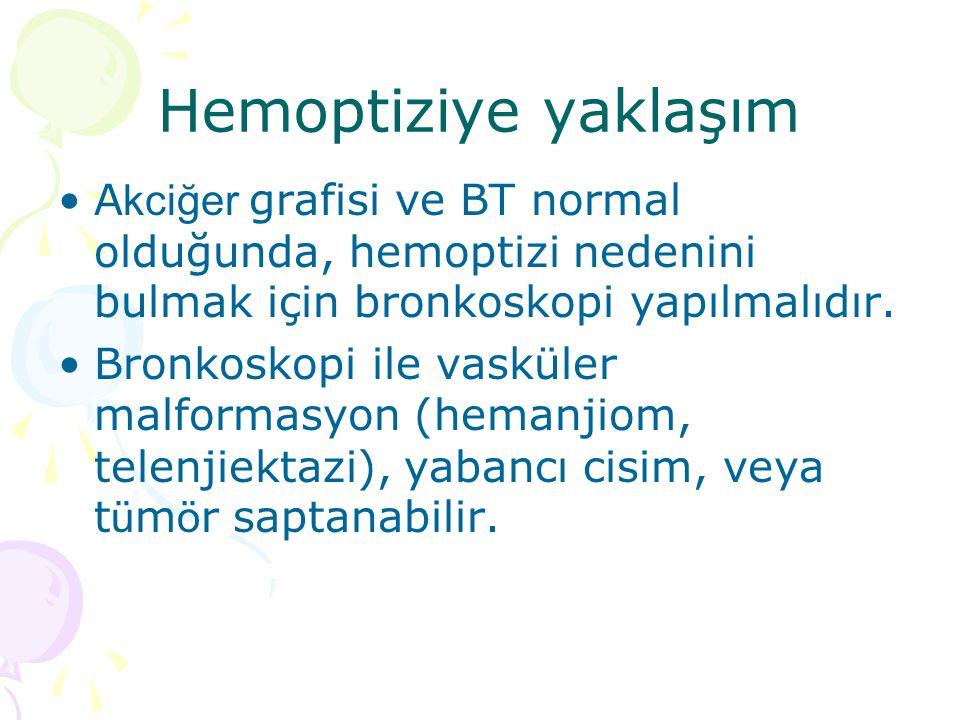 Hemoptiziye yaklaşım A kciğer grafisi ve BT normal olduğunda, hemoptizi nedenini bulmak için bronkoskopi yapılmalıdır.