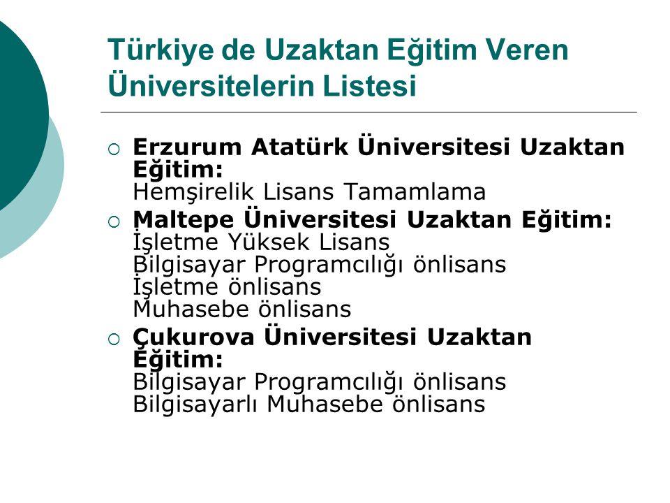 Türkiye de Uzaktan Eğitim Veren Üniversitelerin Listesi  Erzurum Atatürk Üniversitesi Uzaktan Eğitim: Hemşirelik Lisans Tamamlama  Maltepe Üniversit