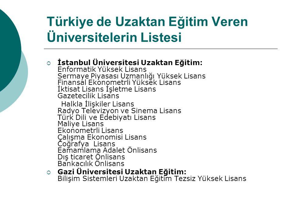 Türkiye de Uzaktan Eğitim Veren Üniversitelerin Listesi  İstanbul Üniversitesi Uzaktan Eğitim: Enformatik Yüksek Lisans Sermaye Piyasası Uzmanlığı Yü