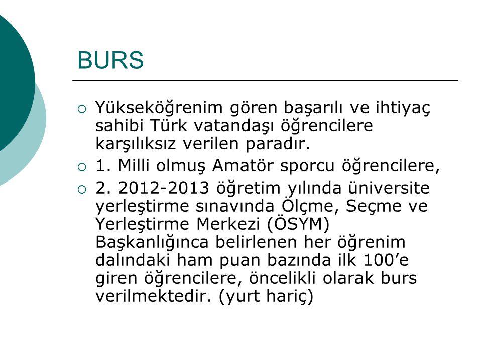 BURS  Yükseköğrenim gören başarılı ve ihtiyaç sahibi Türk vatandaşı öğrencilere karşılıksız verilen paradır.  1. Milli olmuş Amatör sporcu öğrencile