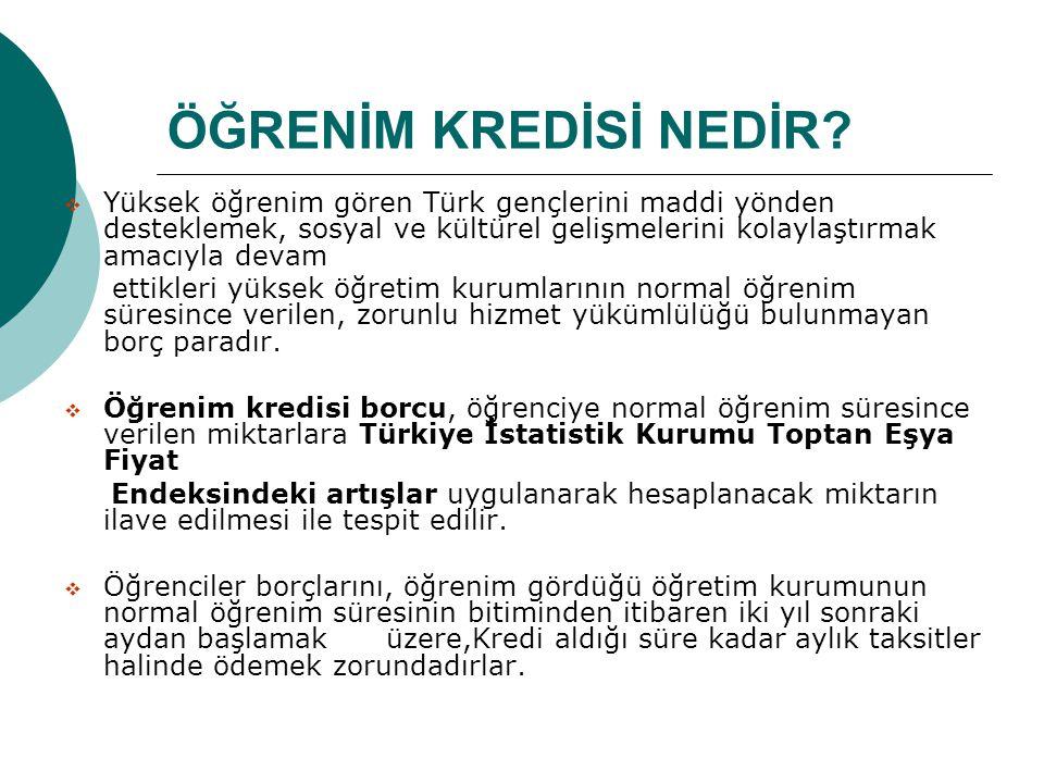 ÖĞRENİM KREDİSİ NEDİR?  Yüksek öğrenim gören Türk gençlerini maddi yönden desteklemek, sosyal ve kültürel gelişmelerini kolaylaştırmak amacıyla devam