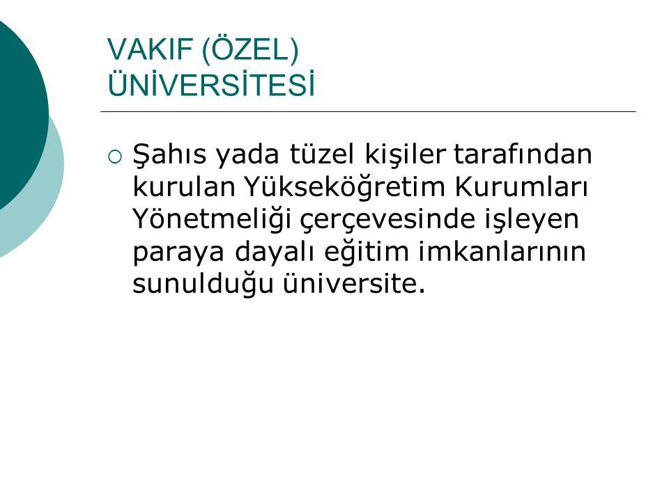 VAKIF (ÖZEL) ÜNİVERSİTESİ  Şahıs yada tüzel kişiler tarafından kurulan Yükseköğretim Kurumları Yönetmeliği çerçevesinde işleyen paraya dayalı eğitim