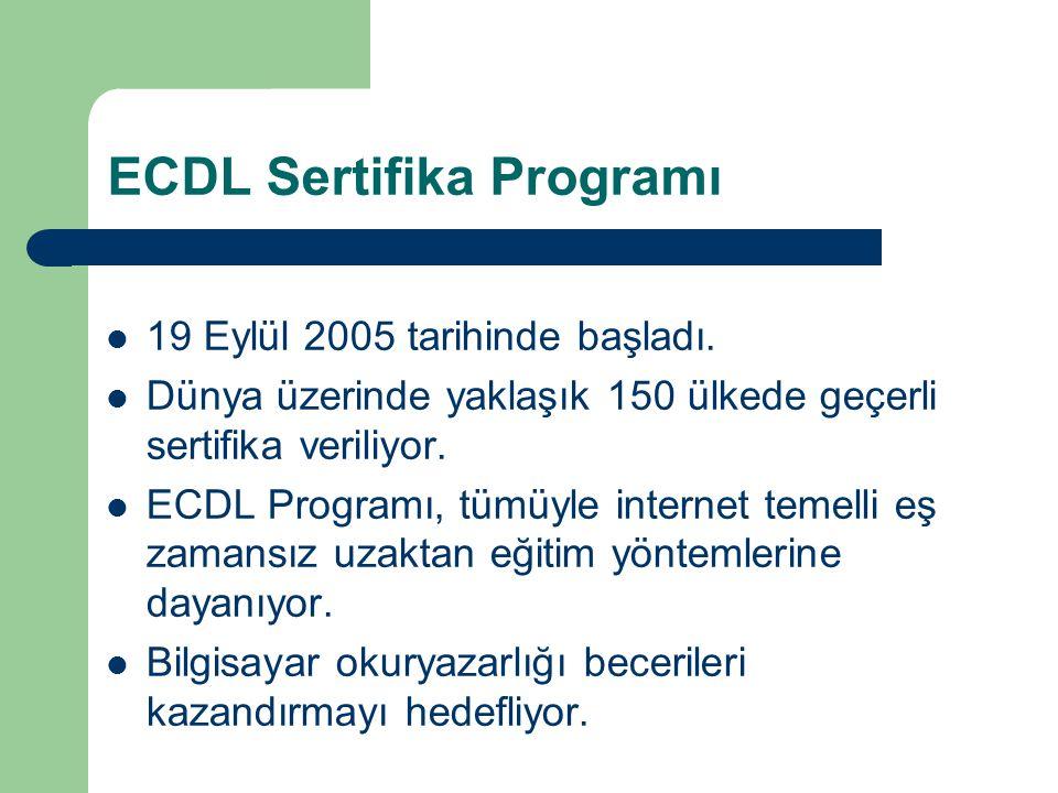 ECDL Sertifika Programı 19 Eylül 2005 tarihinde başladı. Dünya üzerinde yaklaşık 150 ülkede geçerli sertifika veriliyor. ECDL Programı, tümüyle intern