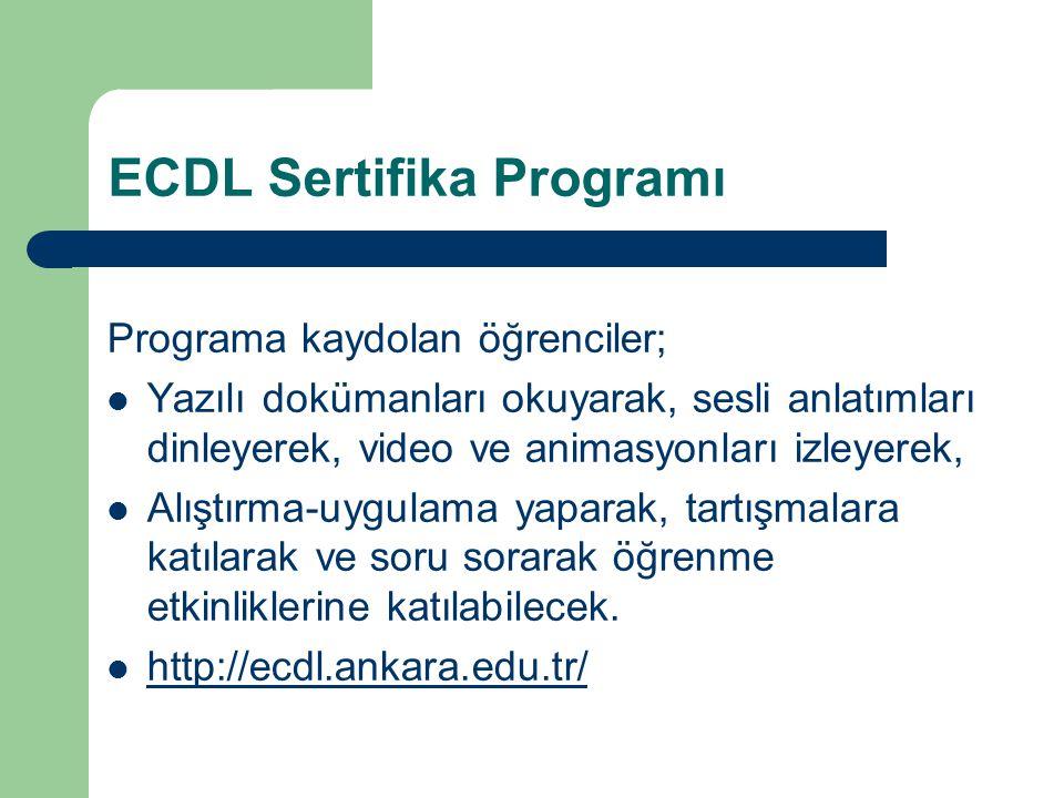 ECDL Sertifika Programı Programa kaydolan öğrenciler; Yazılı dokümanları okuyarak, sesli anlatımları dinleyerek, video ve animasyonları izleyerek, Alı