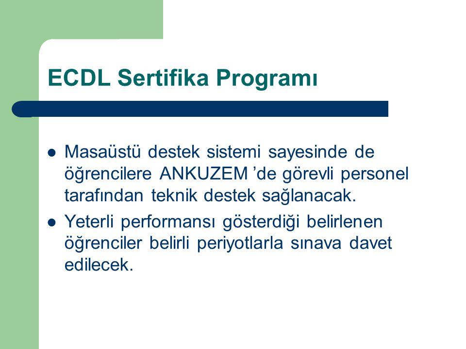 ECDL Sertifika Programı Masaüstü destek sistemi sayesinde de öğrencilere ANKUZEM 'de görevli personel tarafından teknik destek sağlanacak. Yeterli per
