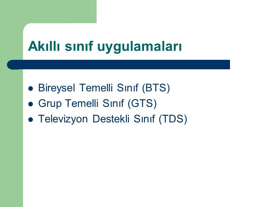 Akıllı sınıf uygulamaları Bireysel Temelli Sınıf (BTS) Grup Temelli Sınıf (GTS) Televizyon Destekli Sınıf (TDS)