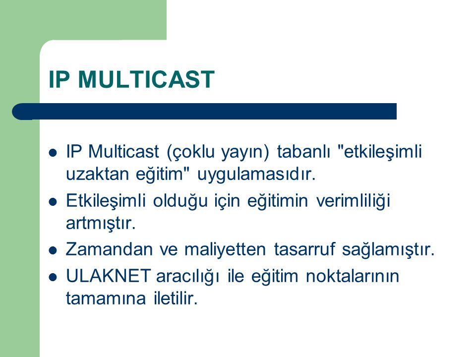 IP MULTICAST IP Multicast (çoklu yayın) tabanlı