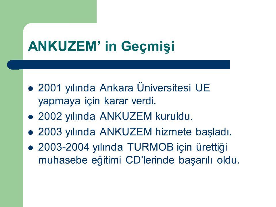 ANKUZEM' in Geçmişi 2001 yılında Ankara Üniversitesi UE yapmaya için karar verdi. 2002 yılında ANKUZEM kuruldu. 2003 yılında ANKUZEM hizmete başladı.