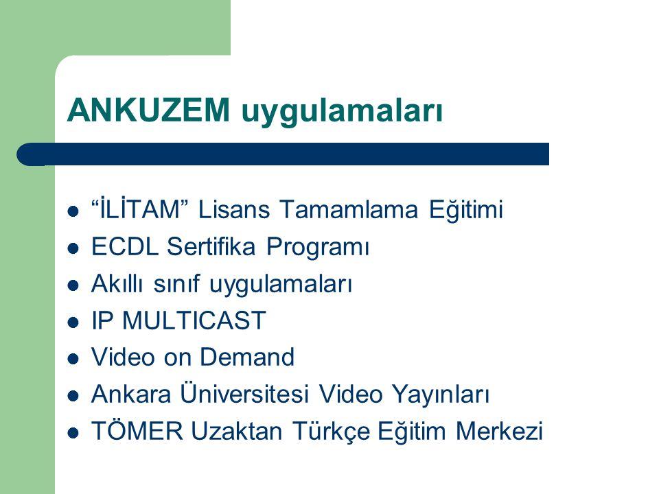 """ANKUZEM uygulamaları """"İLİTAM"""" Lisans Tamamlama Eğitimi ECDL Sertifika Programı Akıllı sınıf uygulamaları IP MULTICAST Video on Demand Ankara Üniversit"""