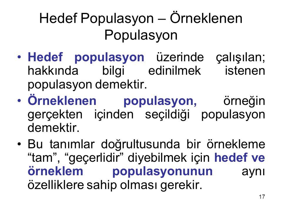 17 Hedef Populasyon – Örneklenen Populasyon Hedef populasyon üzerinde çalışılan; hakkında bilgi edinilmek istenen populasyon demektir.