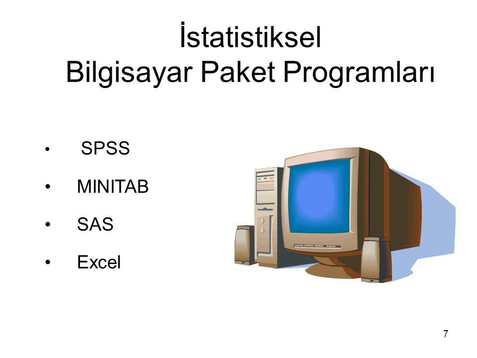 7 İstatistiksel Bilgisayar Paket Programları SPSS MINITAB SAS Excel