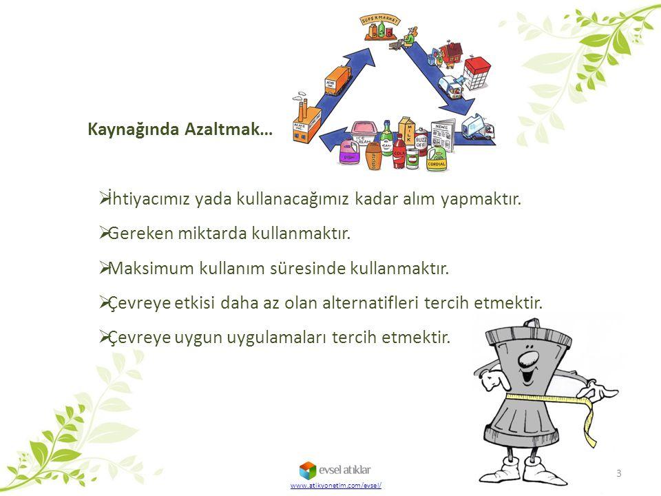 www.atikyonetim.com/evsel/  İhtiyacımız yada kullanacağımız kadar alım yapmaktır.  Gereken miktarda kullanmaktır.  Maksimum kullanım süresinde kull