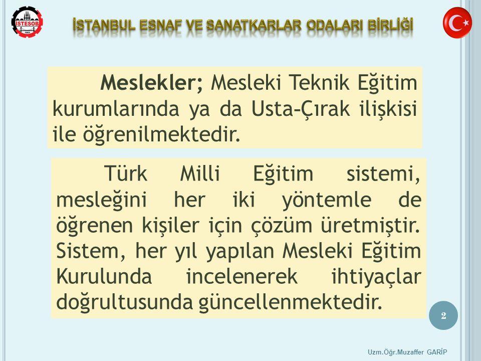 2 Uzm.Öğr.Muzaffer GARİP Meslekler; Mesleki Teknik Eğitim kurumlarında ya da Usta - Çırak ilişkisi ile öğrenilmektedir. Türk Milli Eğitim sistemi, mes