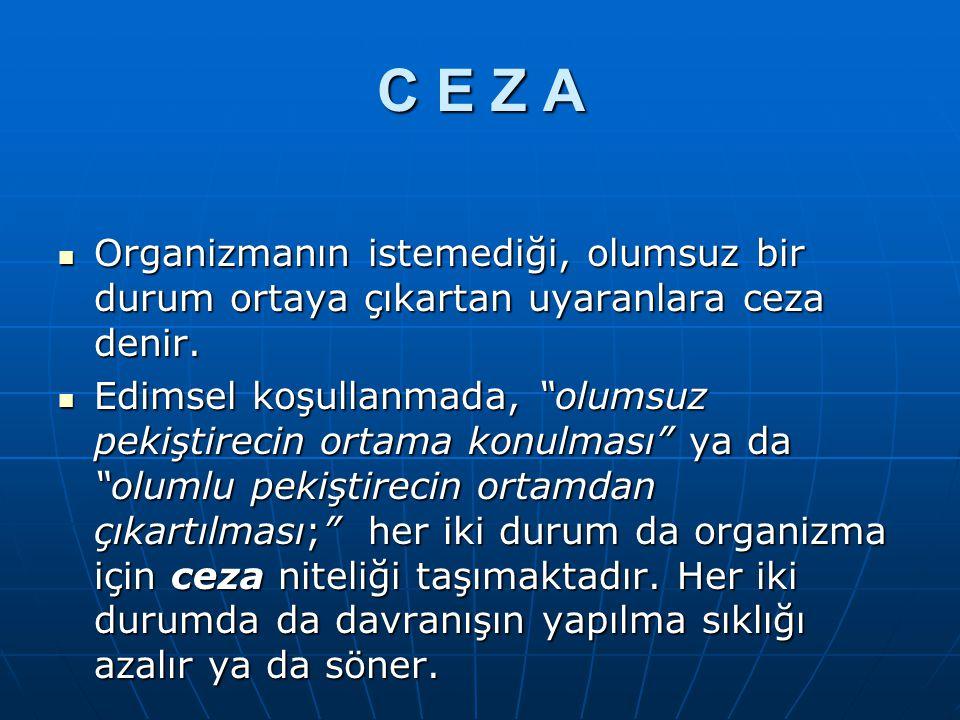 C E Z A Organizmanın istemediği, olumsuz bir durum ortaya çıkartan uyaranlara ceza denir. Organizmanın istemediği, olumsuz bir durum ortaya çıkartan u