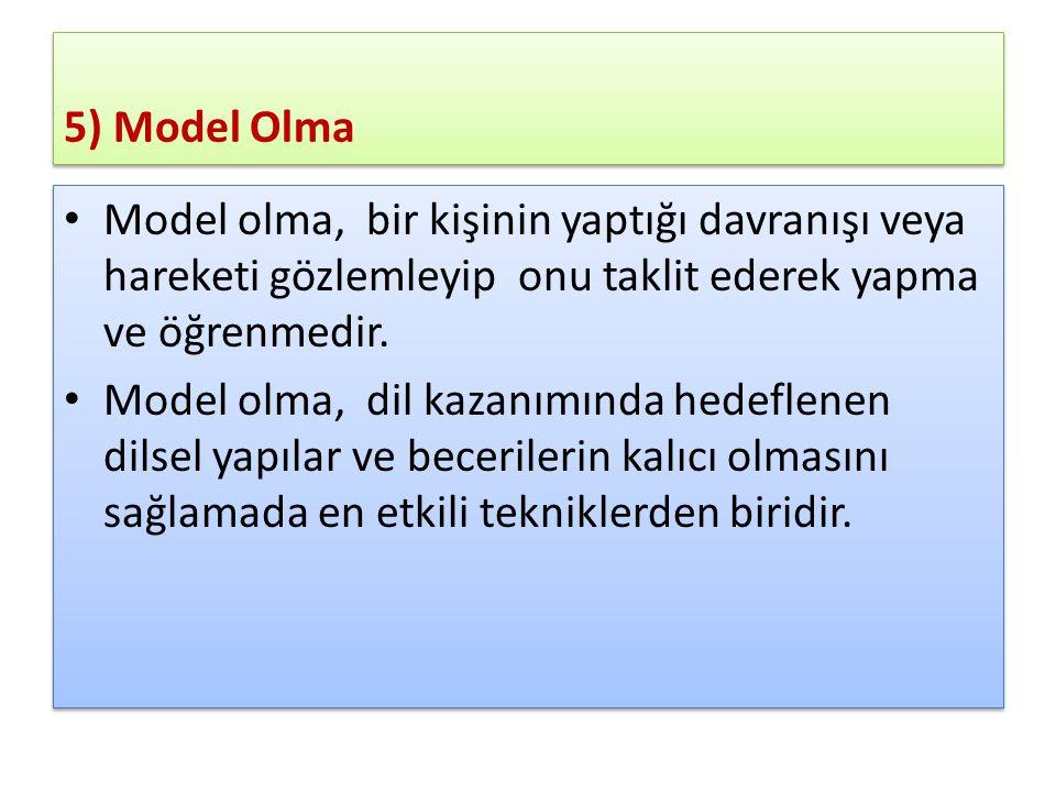 5) Model Olma Model olma, bir kişinin yaptığı davranışı veya hareketi gözlemleyip onu taklit ederek yapma ve öğrenmedir. Model olma, dil kazanımında h