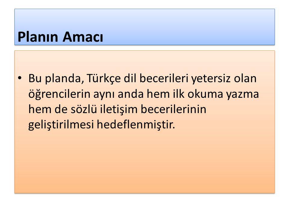 Planın Amacı Bu planda, Türkçe dil becerileri yetersiz olan öğrencilerin aynı anda hem ilk okuma yazma hem de sözlü iletişim becerilerinin geliştirilm