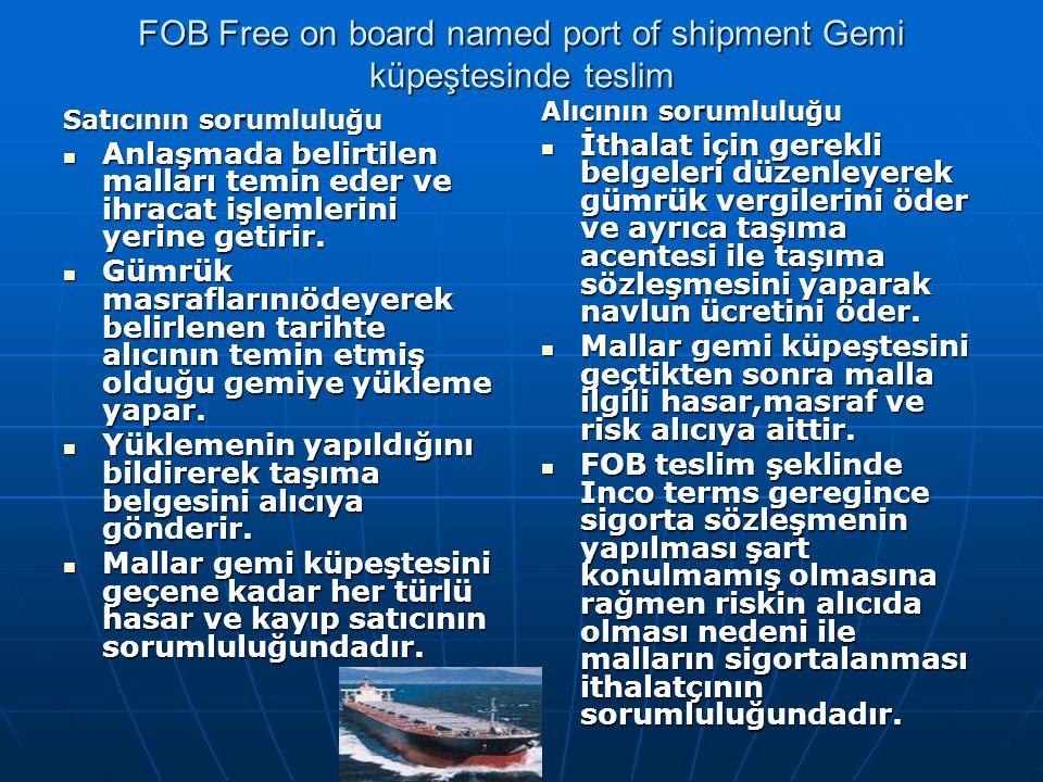 FOB Free on board named port of shipment Gemi küpeştesinde teslim Satıcının sorumluluğu Anlaşmada belirtilen malları temin eder ve ihracat işlemlerini